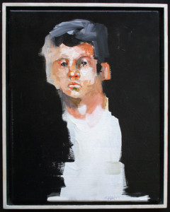 """""""Park Portrait II"""" acrylic on canvas 11"""" x 14"""" in floater frame, natural wood side 15"""" x 12"""" x 1.5"""" $600   #11346"""