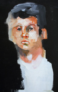 """detail  """"Park Portrait II"""" acrylic on canvas 11"""" x 14"""" in floater frame, natural wood side 15"""" x 12"""" x 1.5"""" $600   #11346"""
