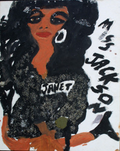 """Miss Janet Jackson/ C.C. Music Factory"" dated 8/30/92 (double-sided) by Artist Chuckie Williams mixed media, glitter on canvas board 20"" x 16"" $600 (11261)"