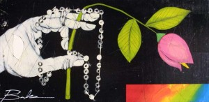 """""""Chastity""""  by MichaelBanks  acrylic, mixed media on wood 11.75"""" x 24"""" black shadowbox frame $600   #11458"""
