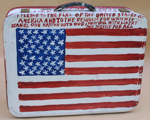 """Suitcase (American Flag & Cherokee Love Birds) dated 11-1-92 by B. F. Perkins acrylic on suitcase 17"""" x 21"""" x 6"""" $1000 (11325)"""