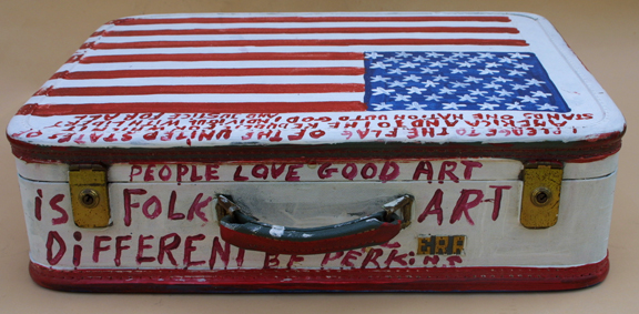 """detail top Suitcase (American Flag & Cherokee Love Birds) dated 11-1-92 by B. F. Perkins acrylic on suitcase 17"""" x 21"""" x 6"""" $1000 (11325)"""