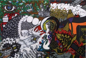 """detail """"Making Choices"""" by William """"Sezah"""" mixed media on canvas 18"""" x 24"""" unframed  $2550 (11496)"""