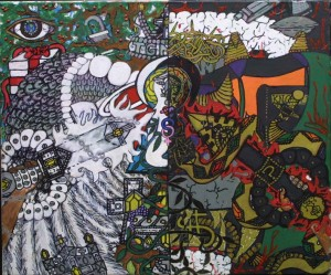 """""""Making Choices"""" by William """"Sezah"""" mixed media on canvas 18"""" x 24"""" unframed  $2550 (11496)"""
