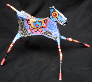 """""""Dancing Horse"""" by Renne Ensley  Mixed media, papier mache & found objects  5.5"""" x 6.5"""" x 10""""   $198   #11054"""
