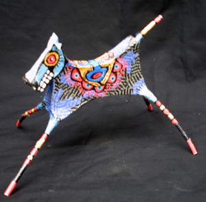 """Facing left """"Dancing Horse"""" by Renne Ensley  Mixed media, papier mache & found objects  5.5"""" x 6.5"""" x 10""""   $198   #11054"""