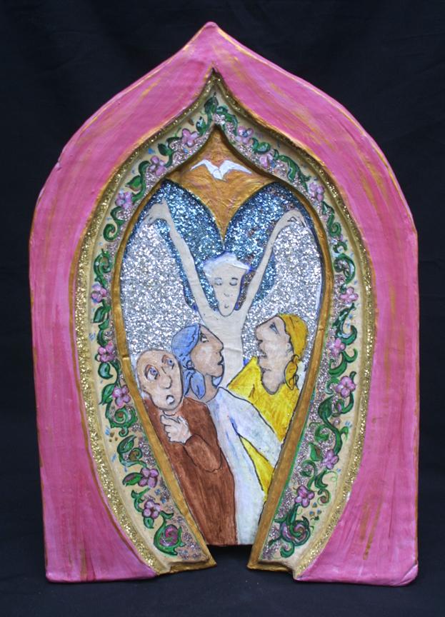 """Three Fools--Running From Angel"" by Hope Atkinson   acrylic on papier mache niche, 16.5"" x 11"" x 1.5"" unframed,  $900   #2913"