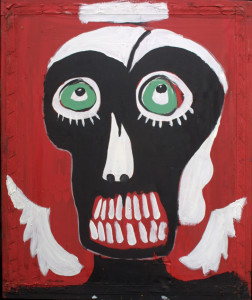 """""""Dark Angel"""" c. 2000 by Michael Banks acrylic on found silk screen frame 23.75"""" x 20 x 2"""" $1500 traveled in Museum exhibition """" Revelations and Reflections"""" #5882"""
