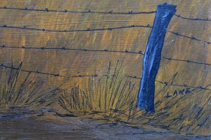 "detail signature Sunset Farm by Jean Lake oil on wood panel 24"" x 36"" unframed $3000 #11493"