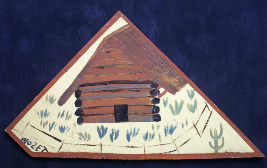 """""""Log Cabin"""" c. 1993  painted by Charles Tolliver, signed by Mose Tolliver   house paint on wood triangle shape 17.5"""" x 31""""  $750  #11538"""