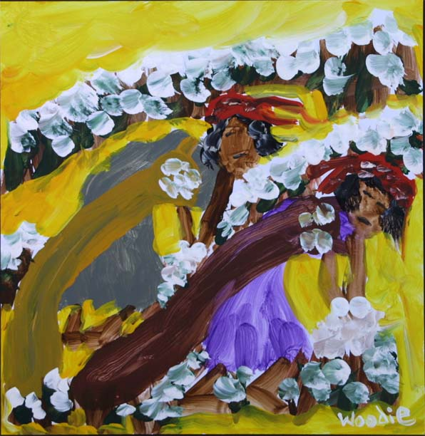 """""""Two Women Picking Cotton"""" by Woodie Long acrylic on paper 10.5"""" x 10"""" unframed $375 #9291"""