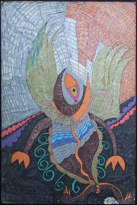 """""""Fish Bird...In a time I could be on dry land or in the air...""""  by Brenda Davis  mixed media on paper  36"""" x 24""""  unframed $1400  #11545"""