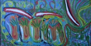 """Under the Water"" by Brenda Davis mixed media on wood 34.25"" x 48"" unframed $750 #11546"