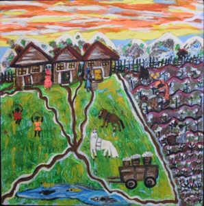 """""""Cotton Up the Country"""" by Ruth Robinson  acrylic on wood  24"""" x 23.75""""  in black shadowbox  $1400  #11750"""