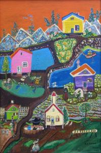 """""""My Dream Island - Heaven on Earth""""  by Ruth Robinson  acrylic on masonite  36"""" x 24""""  in black shadowbox frame  $2400  #11751"""