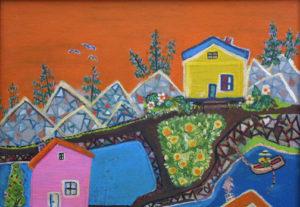 "detail  ""My Dream Island - Heaven on Earth""  by Ruth Robinson  acrylic on masonite  36"" x 24""  in black shadowbox frame  $2400  #11751"