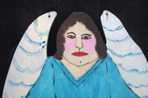 """detail """"Angel"""" c. 1994 by Myrtice West  2 sided cut out (blue side)  Acrylic on wood cut out 19"""" x 13.5""""    $300  (11502)"""