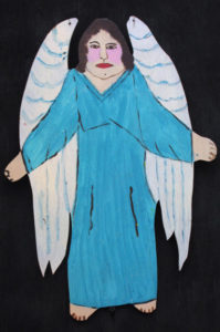 """""""Angel"""" c. 1994 by Myrtice West  2 sided cut out (blue side)  Acrylic on wood cut out 19"""" x 13.5""""    $300  (11502)"""