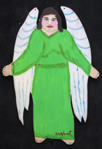 """""""Angel"""" c. 1994 by Myrtice West  2 sided cut out (green side)  Acrylic on wood cut out 19"""" x 13.5""""    $300  (11502)"""