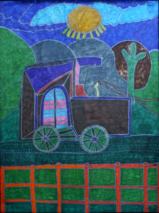 "Untitled  (Wagon)  c. 2005 by Brenda Davis  mixed media on paper  24"" x 18""  unframed  $850  (11530)"
