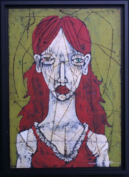 """""""Plush Love"""" 2010 by Michael Banks acrylic & mixed media on wood 24"""" x 17"""" in black shadowbox frame $750 #10740"""