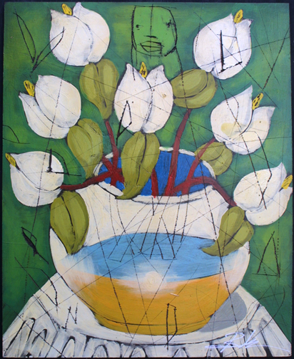 """""""Spring"""" by Michael Banks mixed media on wood 24"""" x 16.5"""" unframed $800 #10974"""