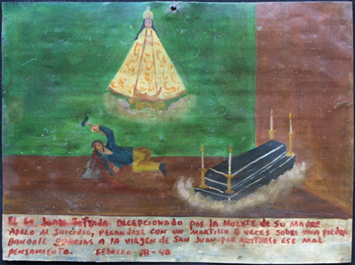 """ExVoto: """"Taking Away bad thoughts after the Death of Mother"""" dated February 18, 1940 by anonymous Mexican artist oil paint on tin with ink 12"""" x 8.75"""" #11756"""