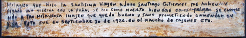 """Ex Voto """"Miracle for Juan Santiago Gutierrez being Healthy After Being Stabbed"""" dated September 30, 1926 by anonymous Mexican artist oil paint on tin with ink 8.5"""" x 11"""" $525 #11758"""