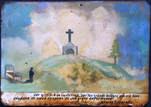 """Ex Voto: """"After A Grave Illness Praying To The Cross"""" c.1920s by anonymous Mexican artist oil paint on tin with ink 7.25"""" x 10.5"""" $550 #11759"""