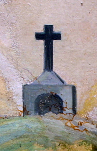 """detail Ex Voto: """"After A Grave Illness Praying To The Cross"""" c.1920s by anonymous Mexican artist oil paint on tin with ink 7.25"""" x 10.5"""" $550 #11759"""