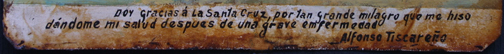 """inscription Ex Voto: """"After A Grave Illness Praying To The Cross"""" c.1920s by anonymous Mexican artist oil paint on tin with ink 7.25"""" x 10.5"""" $550 #11759"""