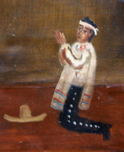 """detail Ex-voto; """"Gratitude For Health After Dangerous Illness"""" dated January 5, 1931 by anonymous Mexican artist oil paint on tin with ink 7.5"""" x 10"""" $525 #11763"""