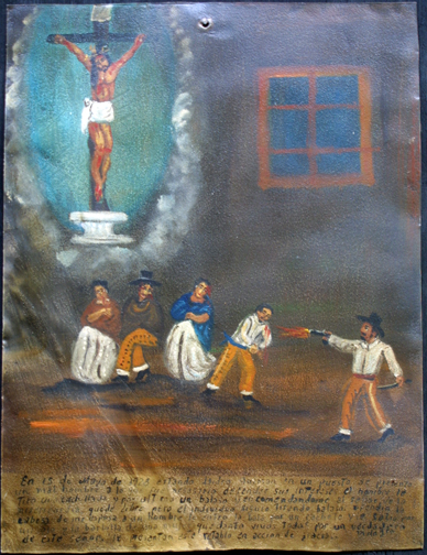 """Ex-voto; """"Gratitude For Health After Dangerous Illness"""" dated January 5, 1931 by anonymous Mexican artist oil paint on tin with ink 7.5"""" x 10"""" $525 #11763"""