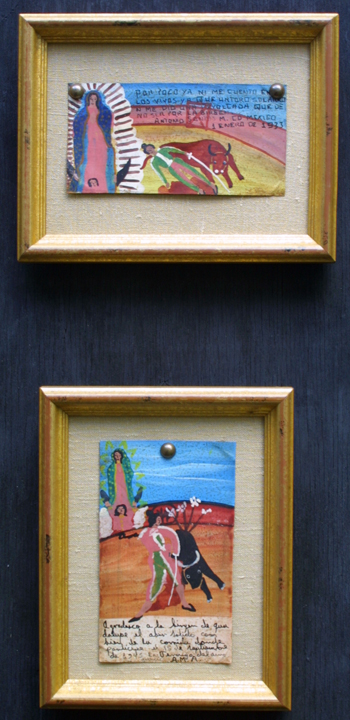"Ex-voto:  ""Gratitude After Surviving Bull Fights"" (pair of paintings)  on top dated dated January 1, 1933 and on bottom dated September 15, 1945  by anonymous Mexican artists   oil paint on tin with ink  3.75"" x 6.25"" & 6.25"" x 3.25""  mounted on linen in gold leaf frames  $900 for pair #11765"