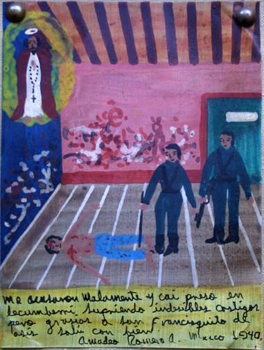 """Ex-voto: """"Gratitude To St. Francis Of Assisi For Survival Of Being Wrongly Accused"""" dated 1940 by anonymous Mexican artist oil paint on tin with ink 8"""" x 6"""" mounted on linen in gold leaf frame $450 #11766"""