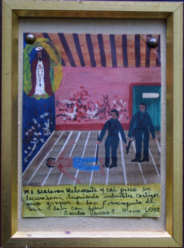 """Framed Ex-voto: """"Gratitude To St. Francis Of Assisi For Survival Of Being Wrongly Accused"""" dated 1940 by anonymous Mexican artist oil paint on tin with ink 8"""" x 6"""" mounted on linen in gold leaf frame $450 #11766"""