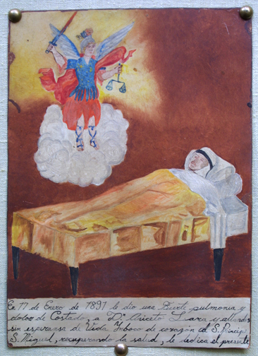 "in mounting Ex-voto: ""Gratitude To St. Migel For Healing from Pneumonia"" dated January 17, 1897 by anonymous Mexican artist 11"" x 8"" mounted on linen in gold leaf frame $ 1200 #11767"