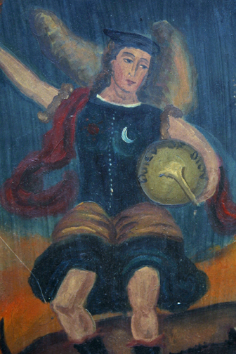 "detail Retablo: ""St. Michael Slaying the Dragon"" by anonymous Mexican artist oil paint on tin 12.75"" x 11"" $1000 #11770"