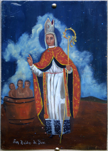 "Retablo: ""St Nicolas"" by anonymous Mexican artist oil paint on tin 1275"" x 11"" $1000 #11770"