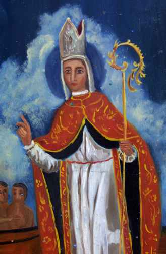 "detail Retablo: ""St Nicolas"" by anonymous Mexican artist oil paint on tin 1275"" x 11"" $1000 #11770"