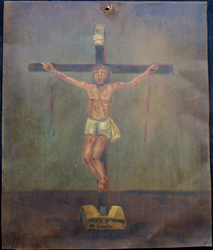 """Retablo: """"Precious Blood of Jesus"""" by anonymous Mexican artist  oil paint on tin  13.5"""" x 10.5""""   $600  #11772"""