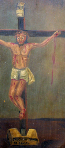 """detail Retablo: """"Precious Blood of Jesus"""" by anonymous Mexican artist  oil paint on tin  13.5"""" x 10.5""""   $600  #11772"""