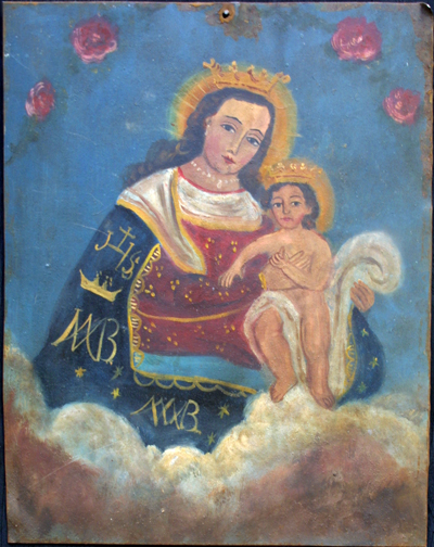 """Retablo: Virgin with Baby Jesus""""  by anonymous Mexican artist  oil paint on tin  12"""" x 10""""  $600  #11772"""