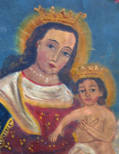 """detail Retablo: Virgin with Baby Jesus""""  by anonymous Mexican artist  oil paint on tin  12"""" x 10""""  $600  #11772"""