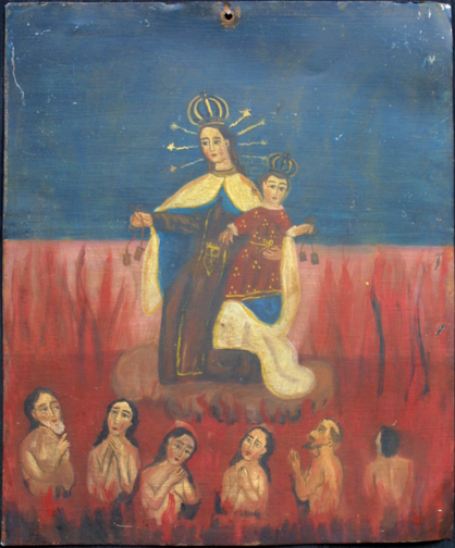 "Retablo: ""Virgin and Child with Six in Hell""  by anonymous Mexican artist  oil paint on tin  14"" x 11.5""   $700  #11774"