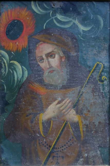 """Retablo: """"St. Francis with Staff and Sunflowers"""" by anonymous Mexican artist oil paint on tin in gold leaf frame 16.5"""" x 12"""" $700 #11775"""