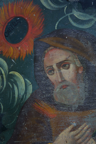 """detail detail Retablo: """"St. Canira with Sunflowers"""" by anonymous Mexican artist oil paint on tin in gold leaf frame 16.5"""" x 12"""" $700 #11775"""