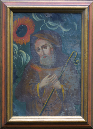 """in frame detail Retablo: """"St. Canira with Sunflowers"""" by anonymous Mexican artist oil paint on tin in gold leaf frame 16.5"""" x 12"""" $700 #11775"""