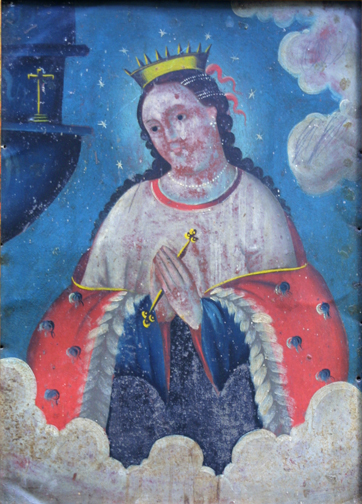 "Retablo: ""Virgin In Crown and Stars"" by anonymous Mexican artist oil paint on tin in gold leaf frame 16.5"" x 12.75"" $1200 #11776"