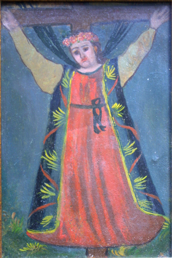 """detail Retablo: """"Saint on Cross""""  early 1900s by anonymous Mexican artist  oil paint on tin  10.5"""" x 7.5""""  $600  #11777"""